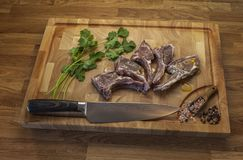 Lamb meet ribs on the cutting board royalty free stock photos