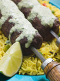 Lamb Mint and Garlic Sheesh Kebab with Pilau Rice Stock Photo