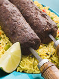 Lamb Mint and Garlic Sheesh Kebab with Pilau Rice stock photography