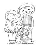 Lamb mom dad baby. Funny drawing of the family of sheep, mom, dad, daughter and son, vector black in white background Royalty Free Stock Photography