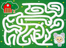 The lamb must find the way to the barn. Game for kids Stock Images