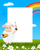 Lamb with Palette Easter Vertical Frame royalty free stock images