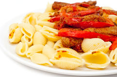 Lamb and pasta Stock Photo