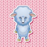 Lamb on a pink knitted background. Greeting card for the New 2015. Year wooden sheep Royalty Free Stock Photography