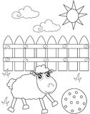 A lamb playing under the sun coloring page Stock Image