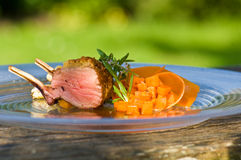 Lamb and pumpkin on plate, close-up Royalty Free Stock Image