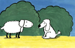 Lamb and puppy. Hand-made, gouache Royalty Free Stock Image