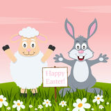Lamb and Rabbit Wishing a Happy Easter Royalty Free Stock Photo