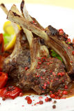 Lamb Rack - grilled,with sauce,peppercorn,baked to Stock Photo