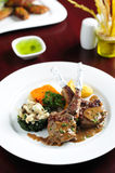 Lamb Rack - grilled,with vegetable Stock Photo