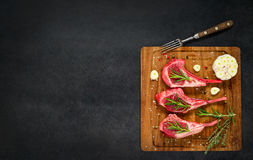 Lamb Rib Chops with Copy Space Area Royalty Free Stock Photography