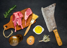 Lamb Rib Chops with Ingredients Stock Image
