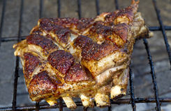 Lamb ribs on the fire Royalty Free Stock Photos