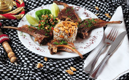 Lamb ribs. Middle eastern cuisine royalty free stock image
