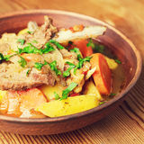 Lamb ribs with potato and vegetables Stock Photography