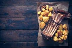 Lamb ribs and potatoes Royalty Free Stock Photos