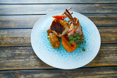 Lamb ribs with sweet potato parmentier recipe Royalty Free Stock Images