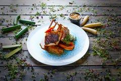 Lamb ribs with sweet potato parmentier recipe Royalty Free Stock Photography