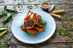 Lamb ribs with sweet potato parmentier recipe Royalty Free Stock Photo