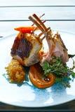 Lamb ribs with sweet potato parmentier recipe Stock Photos