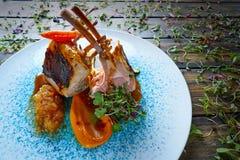 Lamb ribs with sweet potato parmentier recipe Royalty Free Stock Image