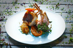 Lamb ribs with sweet potato parmentier recipe Royalty Free Stock Photos