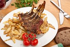 Lamb Ribs with Thyme and Potatoes Royalty Free Stock Images