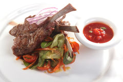 Lamb ribs with vegetables Royalty Free Stock Photo