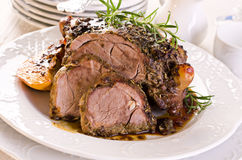 Lamb Roast. As closeup on a white plate Royalty Free Stock Images