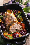 Lamb Roast with Plums Stock Image