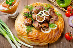 Lamb rolls with cilantro and purple onion in a tortilla Royalty Free Stock Photography