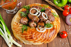 Lamb rolls with cilantro and purple onion in a tortilla Stock Images