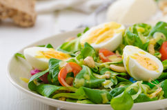 Lamb's lettuce salad with eggs and nuts Stock Photos