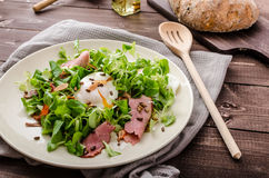 Lamb's lettuce salad with poached egg and nuts Stock Image