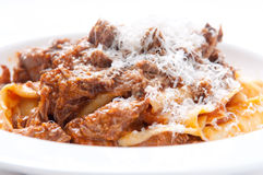 Lamb sauce with hand made papparadelle pasta Stock Images