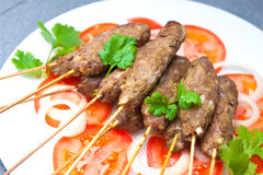 Lamb seekh kebabs served with rice Royalty Free Stock Photography