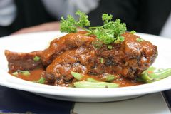 Lamb shank. On the plate Stock Image