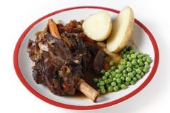 Lamb shank meal high angle Royalty Free Stock Photo