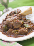 Lamb Shank Rogan Josh Gosht Plain Basmati Rice Stock Photo