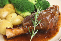 Lamb Shank with Vegetables Dinner Stock Image