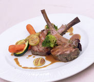 Lamb shank with vegetables Royalty Free Stock Photo
