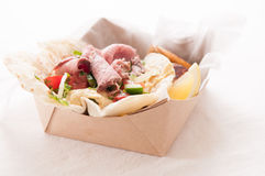 Lamb shawarma take out meal in a box Royalty Free Stock Photography