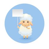 Lamb with signboard Stock Image