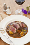 Lamb sirloin with herbed gnocchi Royalty Free Stock Image