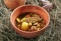 Lamb Soup Piti or Putuk with Cherry Plums in Vintage Ceramic Bowl. Homemade Lamb Soup Piti or Putuk with Cherry Plums in Vintage Ceramic Bowl on Rustic royalty free stock photo