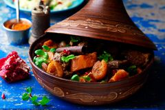 Lamb squash and apricot tagine.style rustic Stock Photography