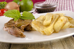 Lamb steak with french fries Stock Image