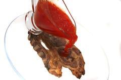 Lamb steak and hot chili sauce Royalty Free Stock Image