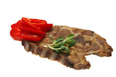 Lamb steak and vegetables Stock Images