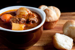 Lamb stew with cloverleaf buns. Hearty home made stew with lamb and fresh vegetables and buns for dipping Stock Images